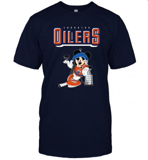 77lk mickey edmonton oilers with the stanley cup hockey nhl shirt jersey t shirt 60 front navy