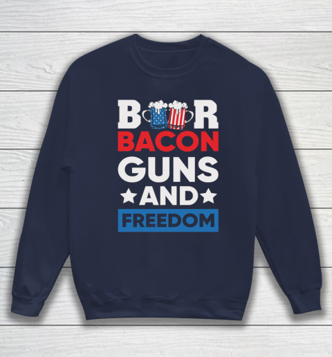 Beer Lover Funny Shirt Beer Bacon and Freedom 4th Sweatshirt 2