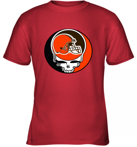 mo2t nfl team cleveland browns x grateful dead logo band youth t shirt 26 front red