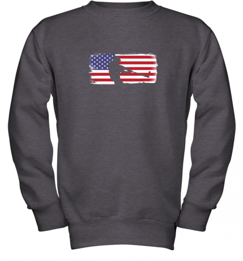 txxv usa american flag baseball player perfect gift youth sweatshirt 47 front dark heather