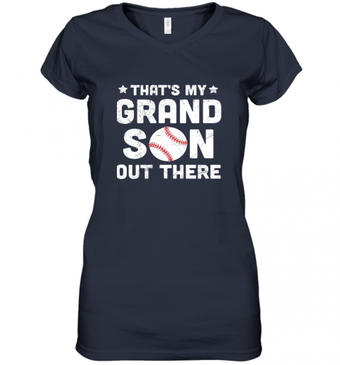 wrkx grandma that39 s my grandson out there baseball women v neck t shirt 39 front navy