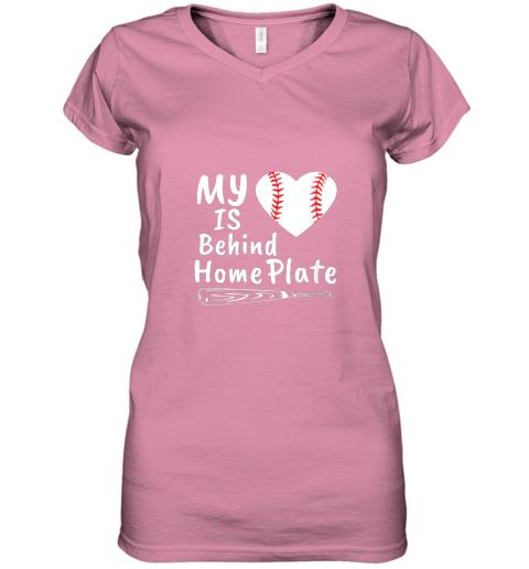 nfyv womens my heart is behind home plate baseball bat mom dad gift women v neck t shirt 39 front azalea