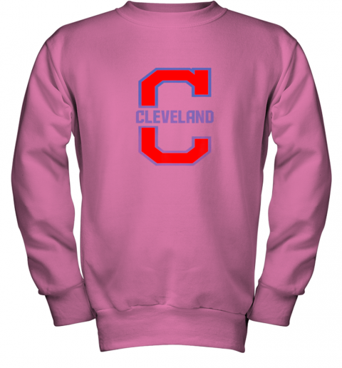 dsjo cleveland hometown indian tribe vintage youth sweatshirt 47 front safety pink