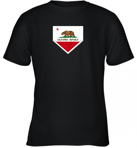 Vintage Baseball Home Plate With California State Flag Youth T-Shirt