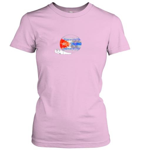 6pdk vintage baseball cuba flag shirt cuban pride ladies t shirt 20 front light pink
