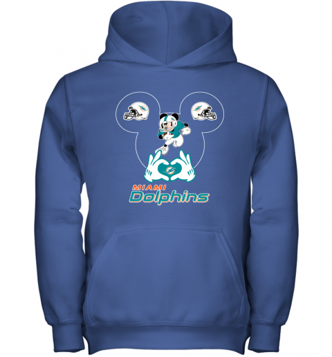 4szz i love the dolphins mickey mouse miami dolphins youth hoodie 43 front royal