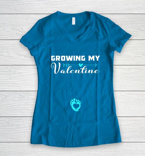 Cute Growing my Valentine Gift for Women pregnancy Women's V-Neck T-Shirt 5