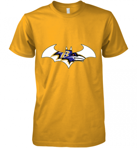 pdry we are the baltimore ravens batman nfl mashup premium guys tee 5 front gold