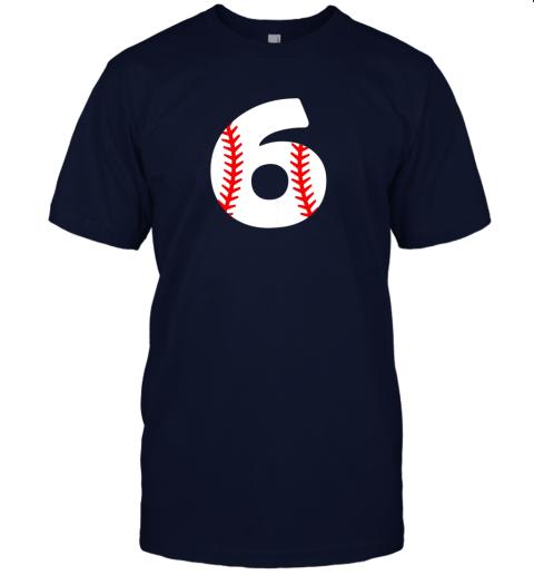 xrvz sixth birthday 6th baseball shirtnumber 6 born in 2013 jersey t shirt 60 front navy