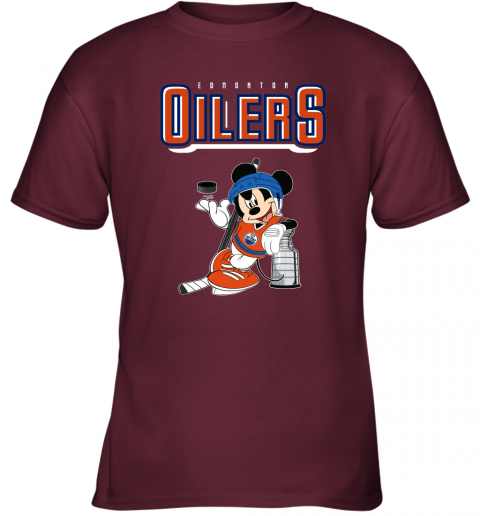 khn2 mickey edmonton oilers with the stanley cup hockey nhl shirt youth t shirt 26 front maroon