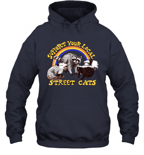 9zvs support your local street cats trash panda skunk wild animal shirts hoodie 23 front navy