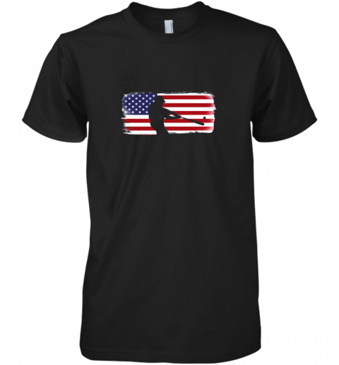 USA American Flag Baseball Player Perfect Gift Premium Men's T-Shirt