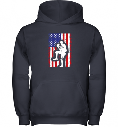 lbr0 vintage usa american flag baseball player team gift youth hoodie 43 front navy