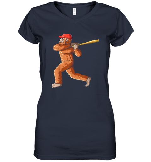 c7nb bigfoot baseball sasquatch playing baseball player women v neck t shirt 39 front navy