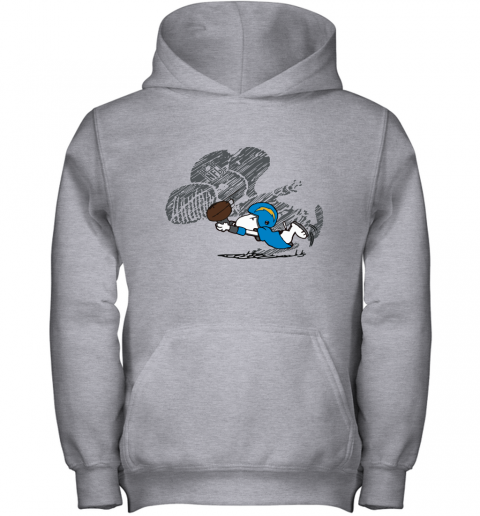 Los Angeles Chargers Snoopy Plays The Football Game Youth Hoodie