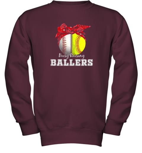 xl9s busy raising ballers softball baseball shirt baseball mom youth sweatshirt 47 front maroon
