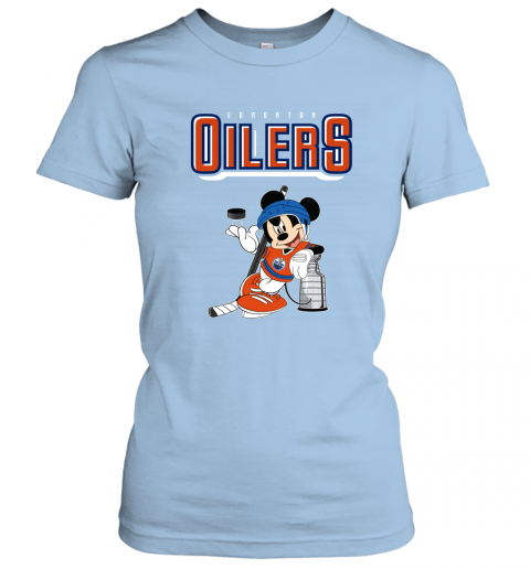 swbv mickey edmonton oilers with the stanley cup hockey nhl shirt ladies t shirt 20 front light blue