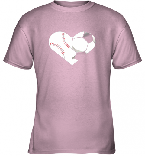 9e1d soccer baseball heart sports tee baseball soccer youth t shirt 26 front light pink