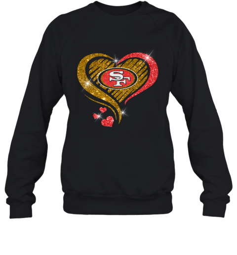San Francisco 49Ers Glitter Heart Shape T Shirt – Custom ...