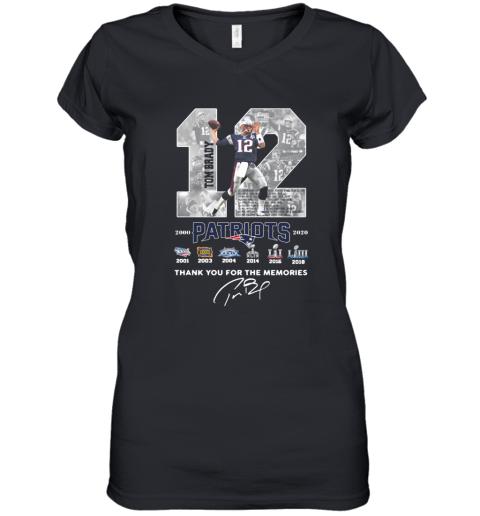 12 Tom Brady Patriots 2000 2020 Thank You For The Memories Signature Women's V-Neck T-Shirt