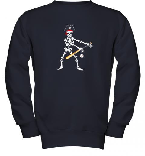 lolx skeleton pirate floss dance with baseball shirt halloween youth sweatshirt 47 front navy
