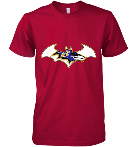pdry we are the baltimore ravens batman nfl mashup premium guys tee 5 front red