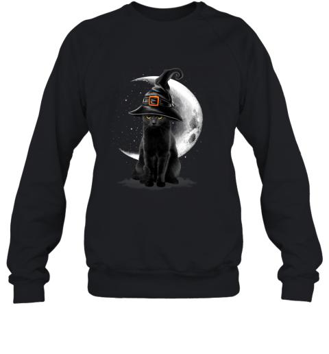 Vintage Scary Black Cat Halloween Witch Hat & Moon Sweatshirt