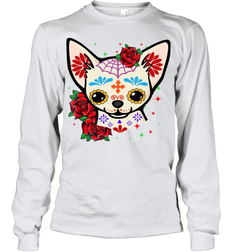 Chihuahua Skulls Day of the Dead Sugar Skull Dog Halloween Youth Long Sleeve