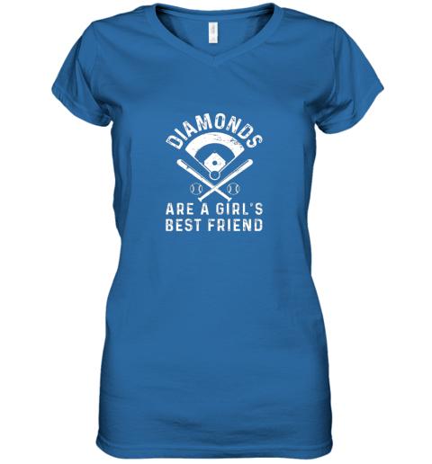 nxj8 diamonds are a girl39 s best friend baseball women v neck t shirt 39 front royal