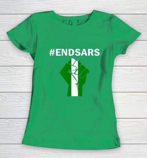 EndSARS End SARS Nigeria Flag Colors Strong Fist Protest Women's T-Shirt 5