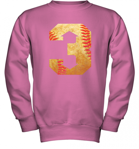 qrkl three up three down baseball 3 up 3 down youth sweatshirt 47 front safety pink