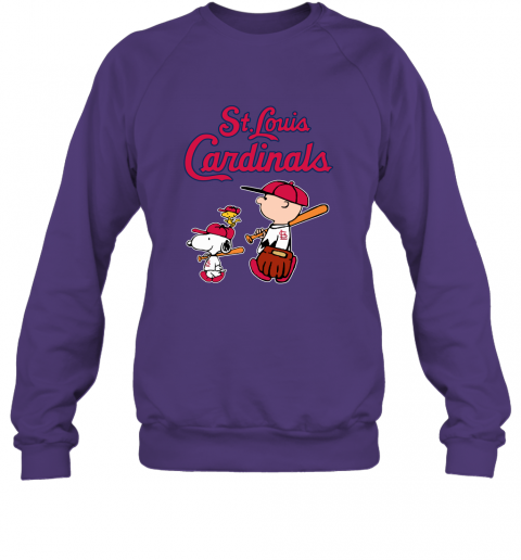 ct3l st louis cardinals lets play baseball together snoopy mlb shirt sweatshirt 35 front purple