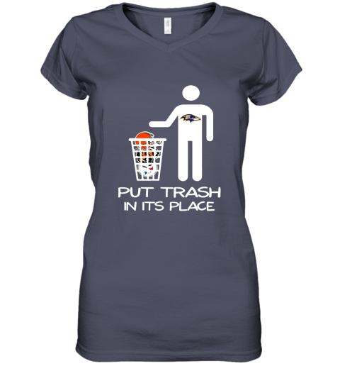 Baltimore Ravens Put Trash In Its Place Funny NFL Women's V-Neck T-Shirt