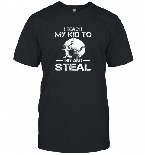 Dad Coach I Teach My Kids To Hit Steal Baseball Gift Unisex Jersey Tee