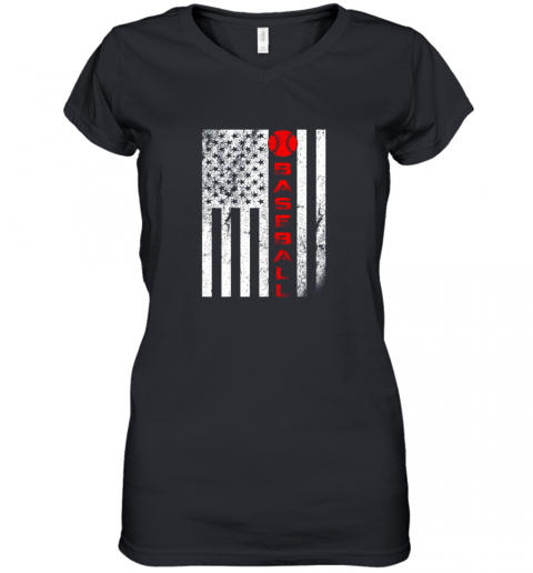 USA Red White  Vintage American Flag Baseball Gift Women's V-Neck T-Shirt