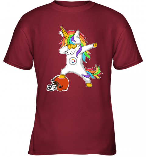 wbpf football dabbing unicorn steps on helmet pittsburgh steelers youth t shirt 26 front cardinal