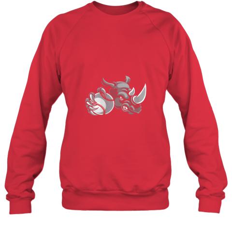 qexm rhino baseball ball sports mascot sweatshirt 35 front red