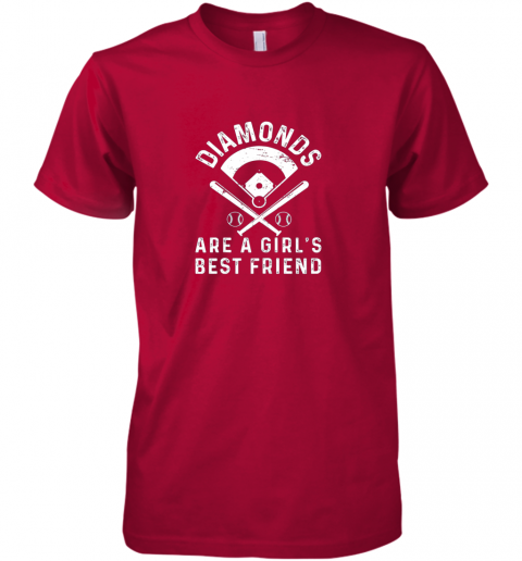 kk1p diamonds are a girl39 s best friend baseball premium guys tee 5 front red