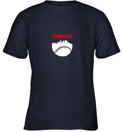 x98r retro minnesota baseball minneapolis cityscape vintage shirt youth t shirt 26 front navy