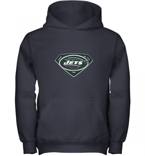 9ztr we are undefeatable the new york jets x superman nfl youth hoodie 43 front navy