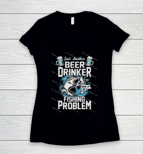 Beer Lover Funny Shirt Fishing ANd Beer Women's V-Neck T-Shirt 1