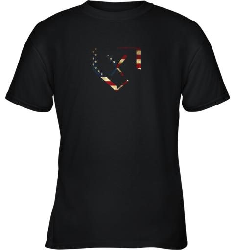 Home Plate Baseball Bats American Flag Shirt Baseballin Youth T-Shirt