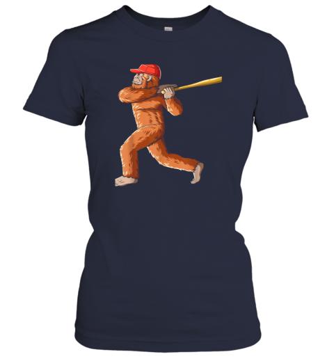 l055 bigfoot baseball sasquatch playing baseball player ladies t shirt 20 front navy