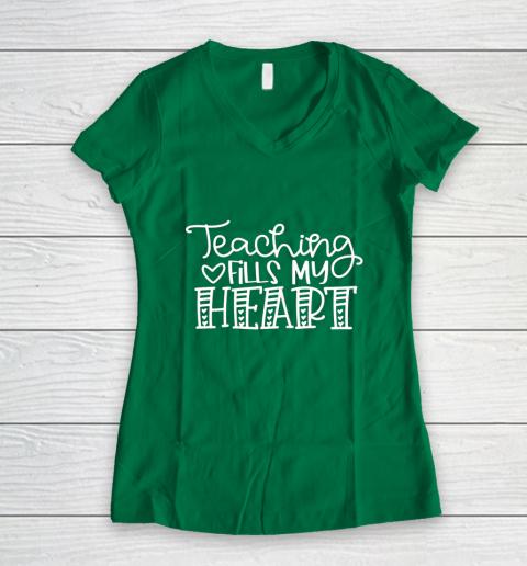 Teaching Fills My Heart Valentine Cute Love Teacher Student Women's V-Neck T-Shirt 3
