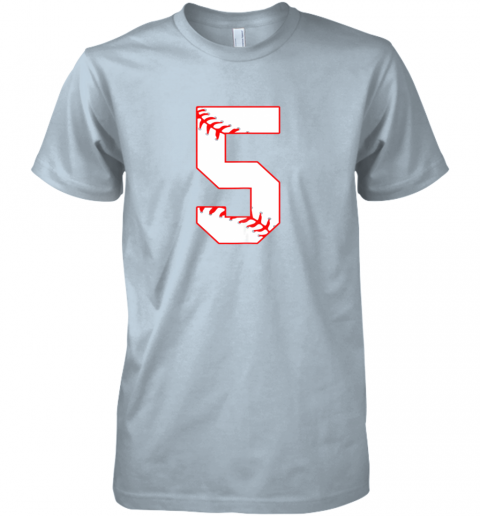 053k cute fifth birthday party 5th baseball shirt born 2014 premium guys tee 5 front light blue