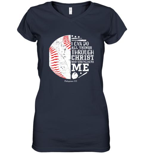 seqx christian baseball shirts i can do all things through christ women v neck t shirt 39 front navy