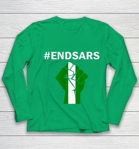EndSARS End SARS Nigeria Flag Colors Strong Fist Protest Youth Long Sleeve 4