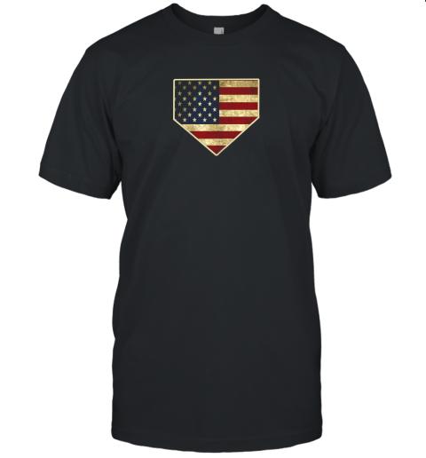 Vintage American Flag Baseball Shirt Home Plate Art Gift Unisex Jersey Tee