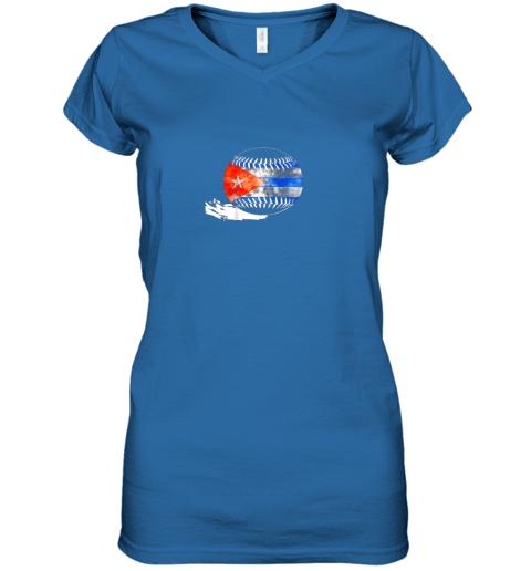 o9xf vintage baseball cuba flag shirt cuban pride women v neck t shirt 39 front royal