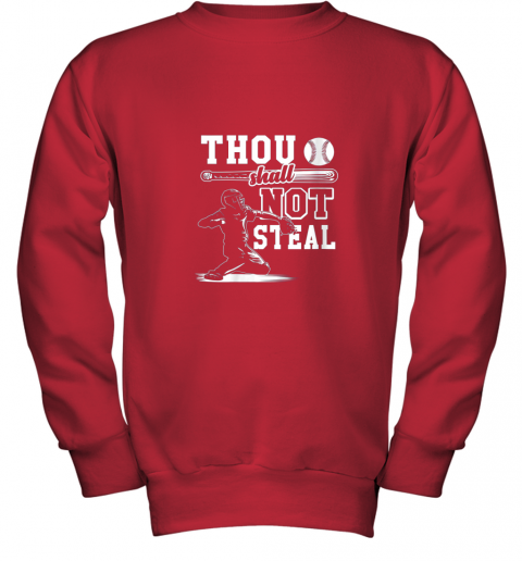 evqh funny baseball thou shall not steal baseball player youth sweatshirt 47 front red